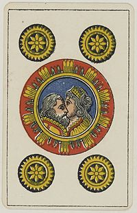 Aluette card deck - Grimaud - 1858-1890 - Five of Coins.jpg