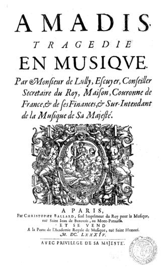 Amadis (Lully) - Amadis, title page