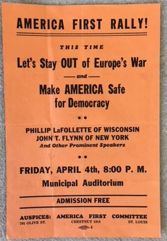 America First Committee - Flyer for an America First Committee rally in St. Louis, Missouri in April 1941