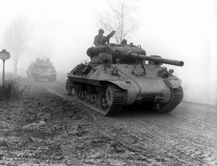 M3 90mm gun-armed American M36 tank destroyers of the 703rd TD, attached to the 82nd Airborne Division, move forward during heavy fog to stem German spearhead near Werbomont, Belgium, 20 December 1944. American tank destroyers.jpg