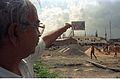 Amit Sarkar Holds Mural Layout Eternal Fight - Convention Centre complex - Science City - Calcutta 1994-10-22 103.JPG