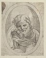 An apostle resting his head on his right hand and holding a book, in an oval frame, from Christ, the Virgin, and Thirteen Apostles MET DP837892.jpg