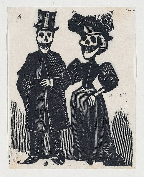 File:An elegantly dressed male and female skeleton arm in arm (vignette for the feast of the dead) MET DP867980.jpg