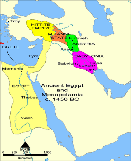 Overview map in the 15th century BC showing the core territory of Assyria with its two major cities Assur and Nineveh wedged between Babylonia downstream and the states of Mitanni and Hatti upstream. Ancient Egypt and Mesopotamia c. 1450 BC.png
