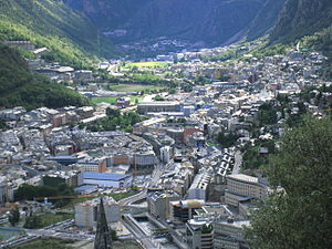 Outline of Andorra - View of Andorra la Vella and a small part of Escaldes-Engordany