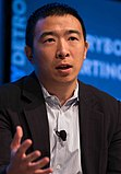 Andrew Yang talking about urban entrepreneurship at Techonomy Conference 2015 in Detroit, MI (cropped)