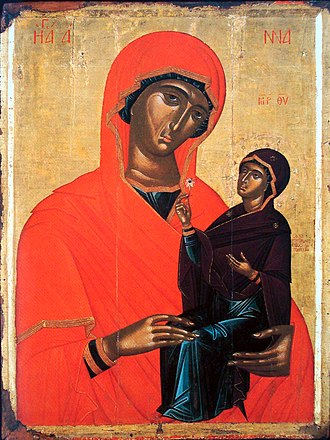 Saint Anne - Greek icon of Saint Anne and Mary, by Angelos Akotantos