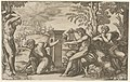Apollo seated at the right with a lyre, pointing to a kneeling man who is about to flay Marsyas tied naked to a tree at left MET DP837626.jpg