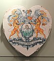 Apothecary Tile, c. 1665, Arms and motto of the London Society of Apothecaries, London, tin-glazed earthenware - Gardiner Museum, Toronto - DSC01254.JPG