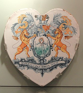 Worshipful Society of Apothecaries - Apothecary Tile with the Society Arms, c. 1665