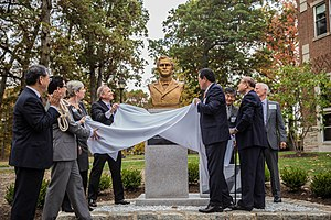 Henry Appenzeller - Rev. Dr. Sehyoung Lee, Dean Javier Viera, Bishop John Schol, Rev. Ki-Sung Song, Arist Changgon Kim, and other dignitaries celebrate the installation of a bronze bust of Appenzeller at Drew Theological School.