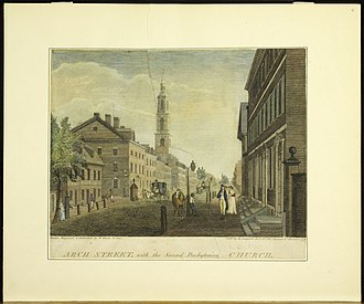 First Great Awakening - Philadelphia's Second Presbyterian Church, ministered by New Light Gilbert Tennent, was built between 1750 and 1753 after the split between Old and New Side Presbyterians.