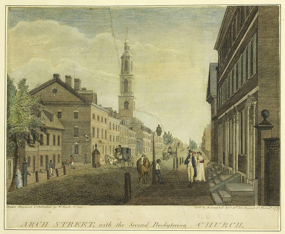 Arch Street, with the Second Presbyterian Church (19592935679)