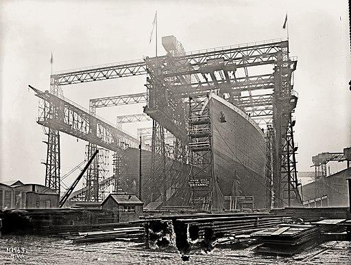 Arrol Gantry and HMHS Britannic in February 1914