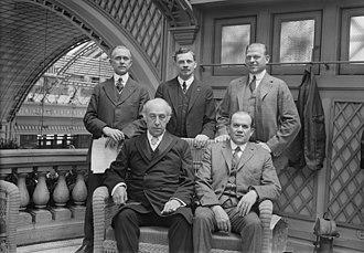 Harry Horner Barnhart - Arthur Farwell, Peter William Dykema, Walter Kirkpatrick Brice, John Christian Freund, and Harry Horner Barnhart in 1917 at the community chorus luncheon in Manhattan