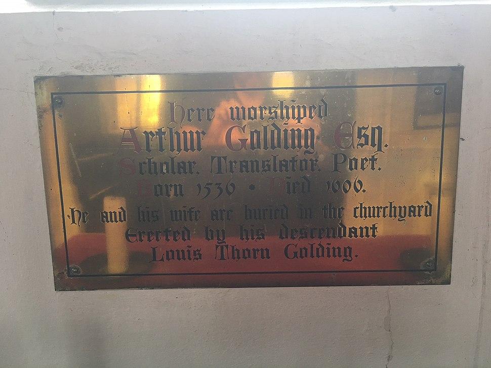 Arthur Golding memorial