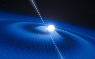 Tests of general relativity - Image: Artist's impression of the pulsar PSR J0348+0432 and its white dwarf companion