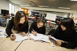 English: Students studying at Albany Senior Hi...