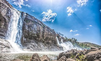 View of Athirappilly waterfalls from below Athirapally Waterfalls, Chalakudy - The Mighty Falls.jpg