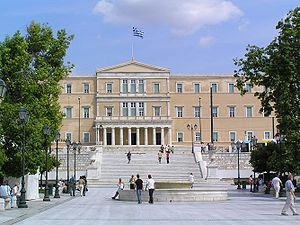 View of Syntagma Square and Hellenic Parliamen...