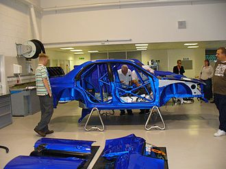 Prodrive - Atkinson's WRC Impreza being prepped for Rally Cyprus 2006