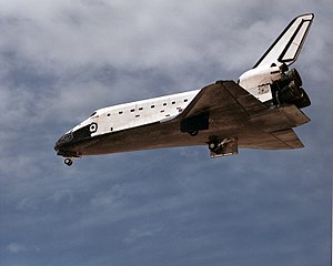 STS-30 - Atlantis deploys its landing gear before landing at the end of STS-30.