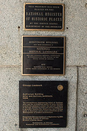 Auditorium Building (Chicago) - Historical markers