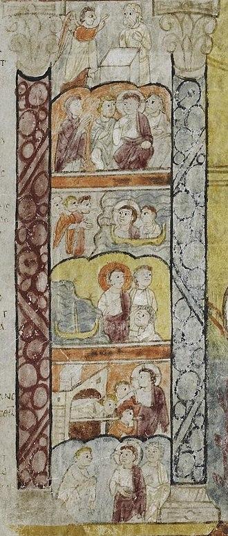 St Augustine Gospels - The left-hand scenes on the portrait of Luke
