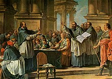 Painting of Augustine of Hippo arguing with a man before an audience
