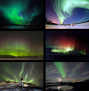 Aurora Natural light display that occurs in the sky, primarily at high latitudes (near the Arctic and Antarctic)