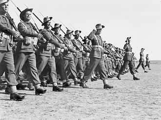 Second Australian Imperial Force - Members of the 9th Division parade at Gaza Airport in late 1942.