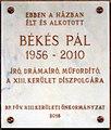 Békés Pál plaque (Budapest-13 Hegedűs Gyula u 24).jpg