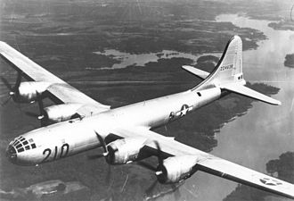 Boeing B-29 Superfortress - A Superfortress returns from a training mission to its base at this Training Command B-29 Transition School.
