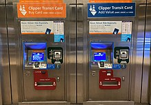 Two BART Clipper card machines