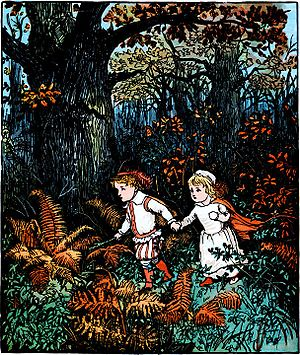 Green children of Woolpit - Illustration of the abandoned Babes in the Wood by Randolph Caldecott, 1879
