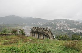 Bagrati Cathedral. Ruins of old fortified wall & view on Kutaisi suburbs.jpg