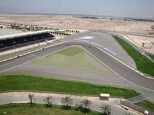 Run-off area - A modern racetrack like the Bahrain International Circuit has large run-off areas