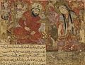 Balami - Tarikhnama - Bilqis crosses the pool covered by crystal to greet Solomon (cropped).jpg