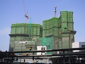 Scaffolding - Bamboo scaffolding used for the construction of the Four Seasons Hotel Hong Kong.