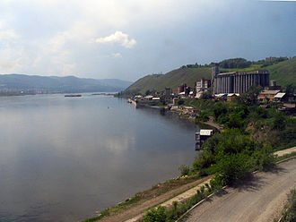 Yenisei River - The river as seen from the trans-Siberian railway near Krasnoyarsk