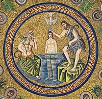 Baptism of Christ. Mosaic in Arian Baptistry. Ravenna, Italy.jpg