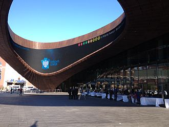 Barclays Center - The Barclays Center oculus, with a view of the LCD screen inside the structure