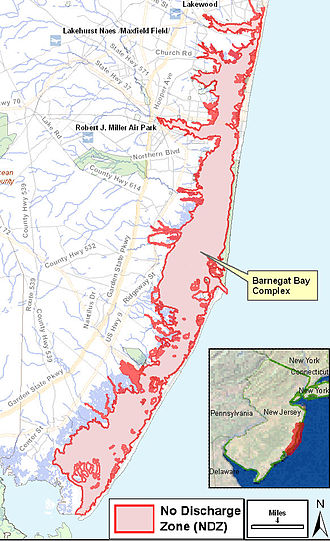 Barnegat Bay - Map of Barnegat Bay area which is also declared as a No Discharge Zone by USEPA