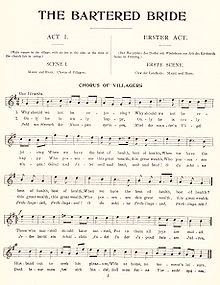 "A page of sheet music shows a melody under the headings ""THE BARTERED BRIDE"", ""ACT I."", ""SCENE I."", and ""CHORUS OF VILLAGERS""."