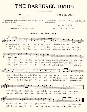 The Bartered Bride - The tune of the opening chorus to The Bartered Bride (English and German texts, published 1909)