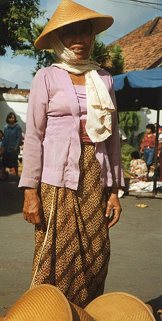 Kebaya - Simple Kutubaru kebaya (square collar) worn by a Javanese woman in Yogyakarta
