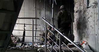 Second Battle of Donetsk Airport - Somalia Battalion fighters in the new terminal building on 16 January
