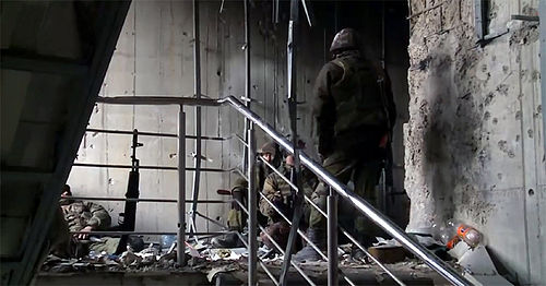 DPR Somalia Battalion in the new terminal building of Donetsk Airport on 16 January 2015 Battle for Donetsk airport, 16 January 2015.jpg
