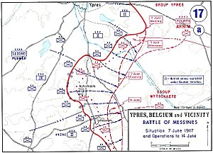 Mines in the Battle of Messines (1917) - Image: Battle of Messines Map