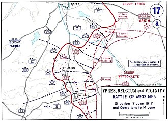 Battle of Messines (1917) - Map of the battle, depicting the front on 7 June and operations until 14 June